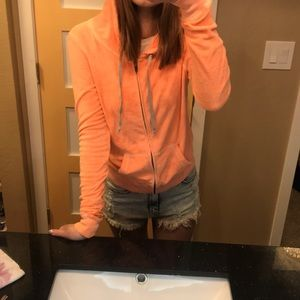 Victoria's Secret Orange terry cloth zip up hoodie